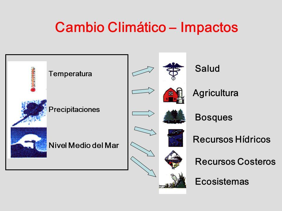 Cambio Climático – Impactos Temperatura Precipitaciones Nivel Medio del Mar Salud Agricultura Recursos Hídricos Bosques Recursos Costeros Ecosistemas