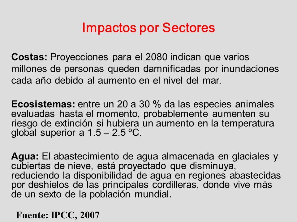 Impactos por Sectores Fuente: IPCC, 2007 Costas: Proyecciones para el 2080 indican que varios millones de personas queden damnificadas por inundacione