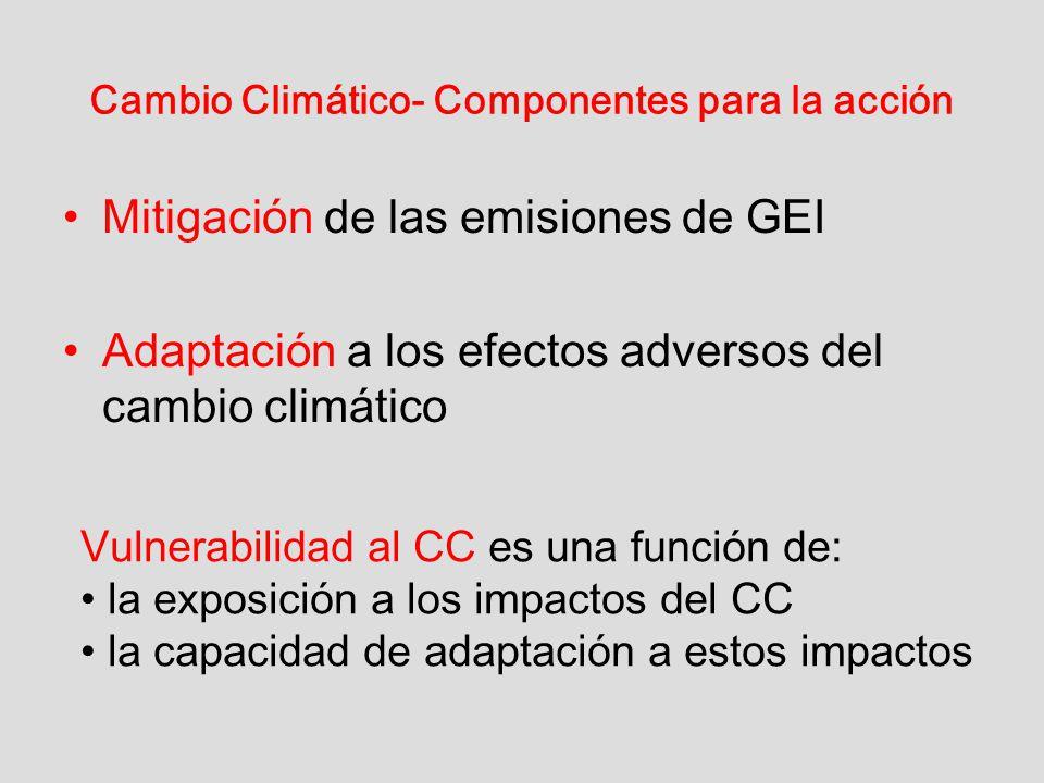 Cambio Climático- Componentes para la acción Mitigación de las emisiones de GEI Adaptación a los efectos adversos del cambio climático Vulnerabilidad