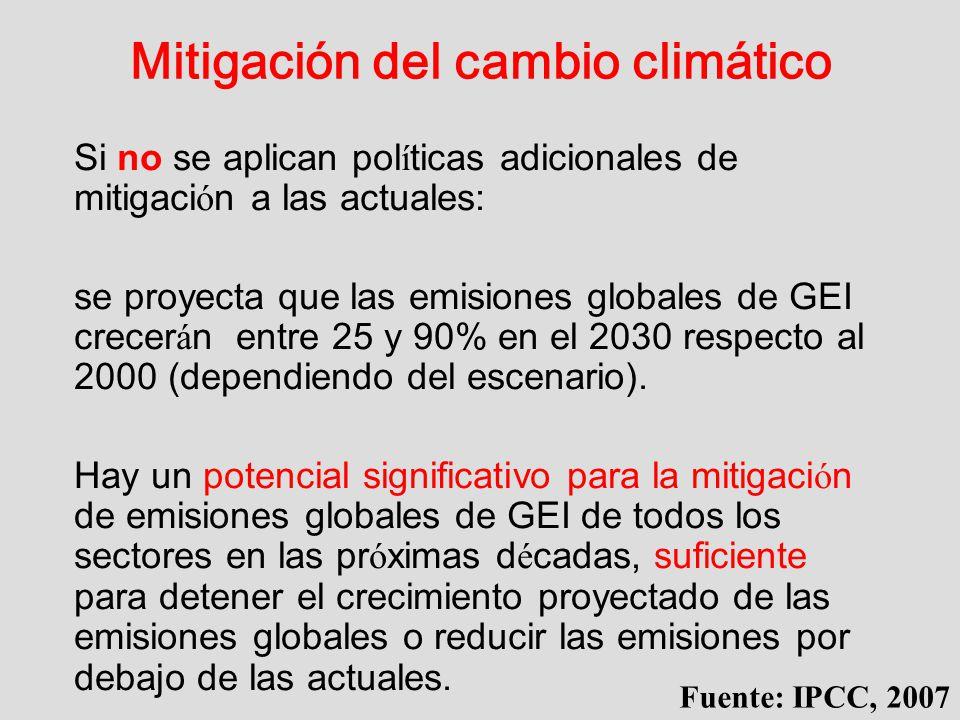 Mitigación del cambio climático Si no se aplican pol í ticas adicionales de mitigaci ó n a las actuales: se proyecta que las emisiones globales de GEI