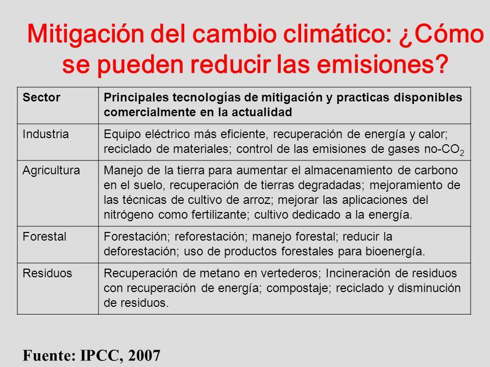 Mitigación del cambio climático: ¿Cómo se pueden reducir las emisiones? Fuente: IPCC, 2007 SectorPrincipales tecnologías de mitigación y practicas dis