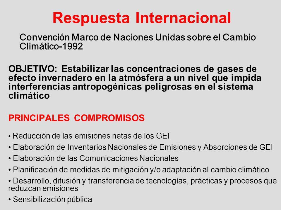 Respuesta Internacional Convención Marco de Naciones Unidas sobre el Cambio Climático-1992 OBJETIVO: Estabilizar las concentraciones de gases de efect