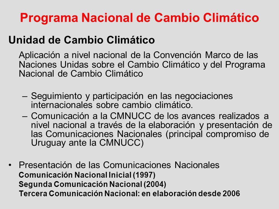 Programa Nacional de Cambio Climático Unidad de Cambio Climático Aplicación a nivel nacional de la Convención Marco de las Naciones Unidas sobre el Ca