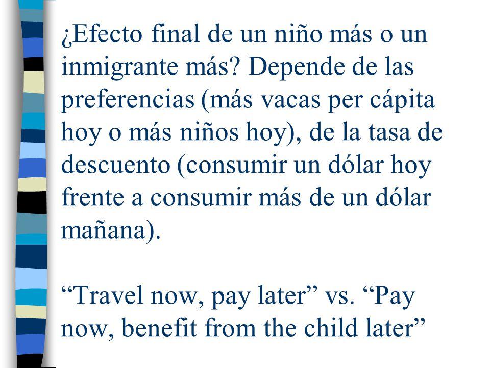 ¿Efecto final de un niño más o un inmigrante más? Depende de las preferencias (más vacas per cápita hoy o más niños hoy), de la tasa de descuento (con