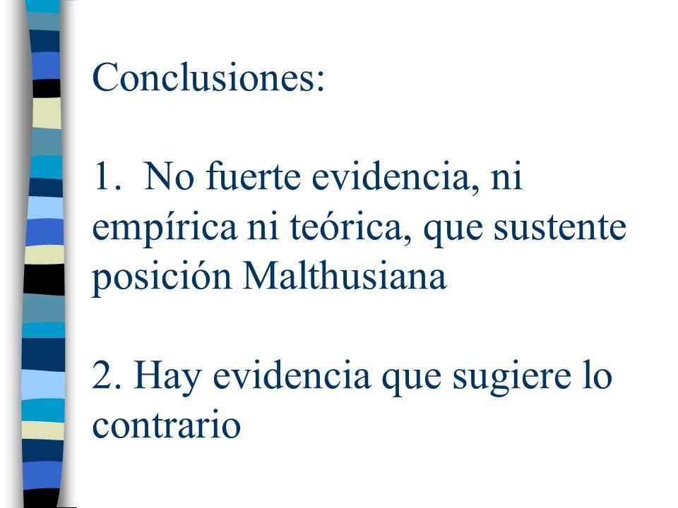 Conclusiones: 1. No fuerte evidencia, ni empírica ni teórica, que sustente posición Malthusiana 2. Hay evidencia que sugiere lo contrario