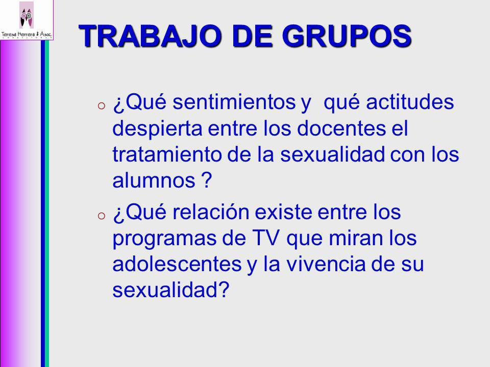 TRABAJO DE GRUPOS o ¿Qué sentimientos y qué actitudes despierta entre los docentes el tratamiento de la sexualidad con los alumnos .