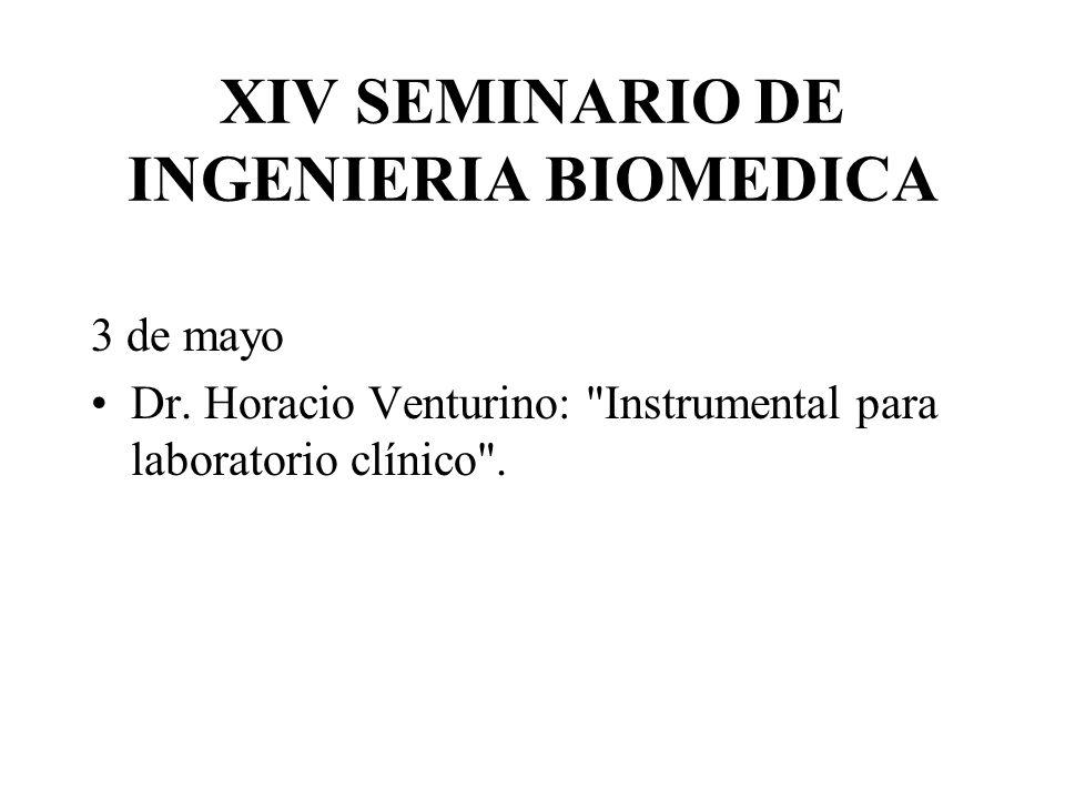 XIV SEMINARIO DE INGENIERIA BIOMEDICA 3 de mayo Dr. Horacio Venturino: