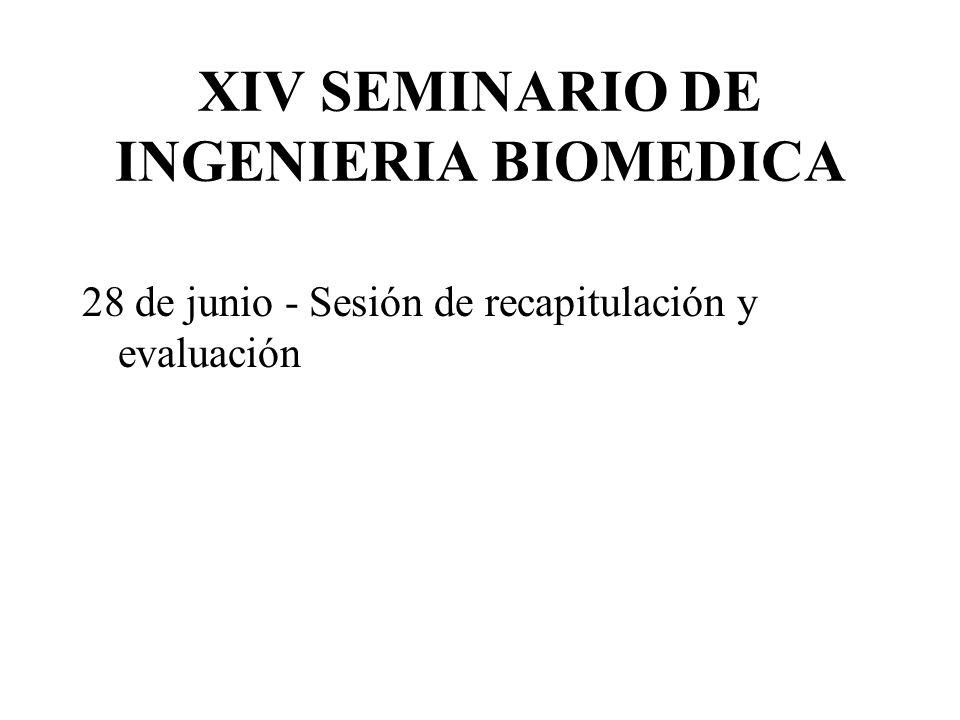 XIV SEMINARIO DE INGENIERIA BIOMEDICA 28 de junio - Sesión de recapitulación y evaluación