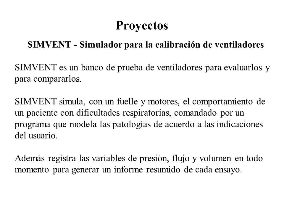 Proyectos SIMVENT - Simulador para la calibración de ventiladores SIMVENT es un banco de prueba de ventiladores para evaluarlos y para compararlos. SI