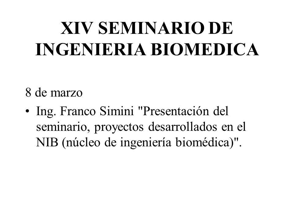 XIV SEMINARIO DE INGENIERIA BIOMEDICA 8 de marzo Ing. Franco Simini