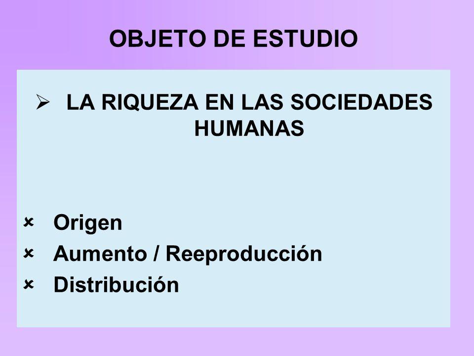 OBJETO DE ESTUDIO LA RIQUEZA EN LAS SOCIEDADES HUMANAS Origen Aumento / Reeproducción Distribución