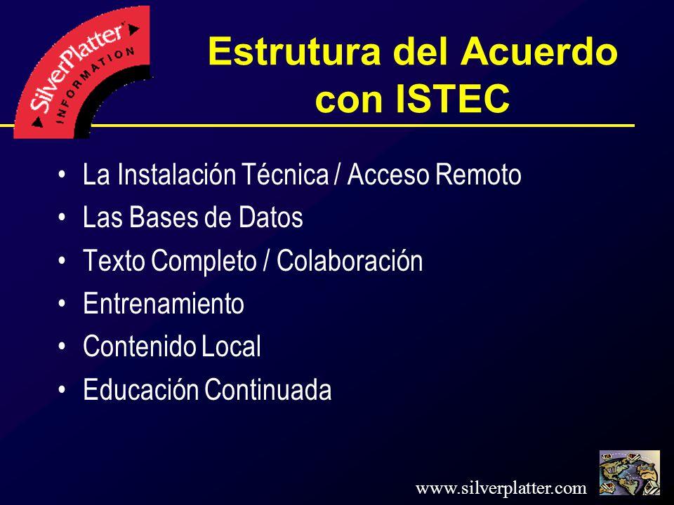 www.silverplatter.com Estrutura del Acuerdo con ISTEC La Instalación Técnica / Acceso Remoto Las Bases de Datos Texto Completo / Colaboración Entrenamiento Contenido Local Educación Continuada