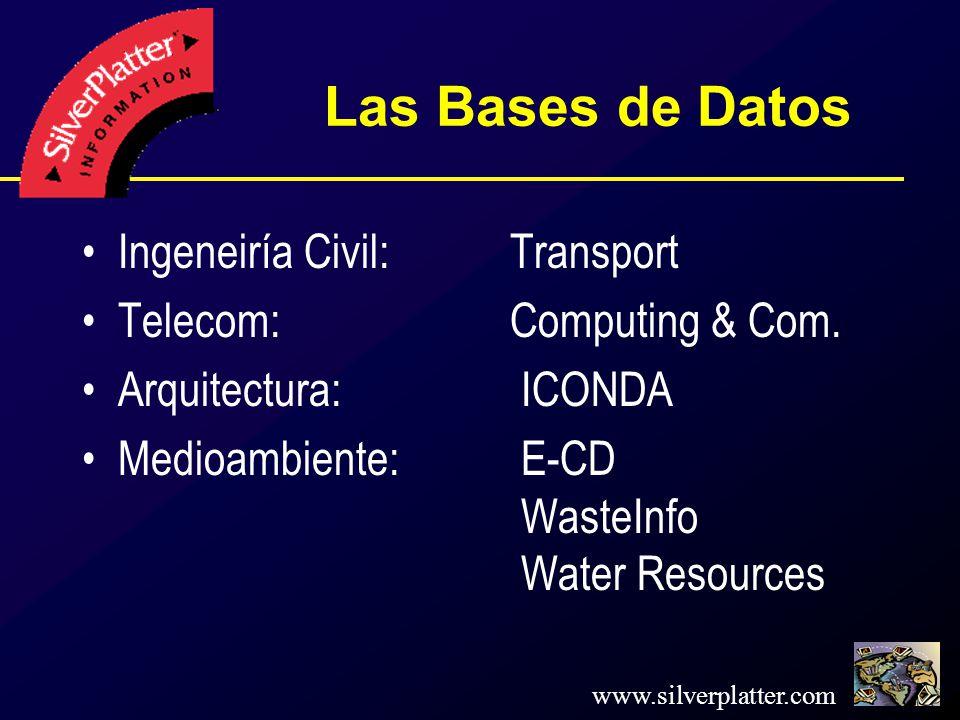 www.silverplatter.com Las Bases de Datos Ingeneiría Civil: Transport Telecom: Computing & Com.