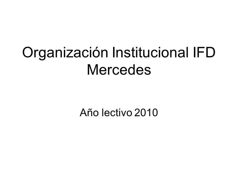 Organización Institucional IFD Mercedes Año lectivo 2010