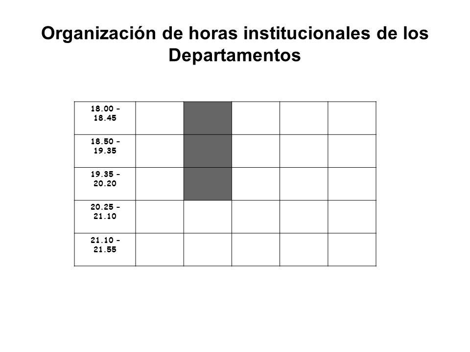 Organización de horas institucionales de los Departamentos 18.00 – 18.45 18.50 – 19.35 19.35 – 20.20 20.25 – 21.10 21.10 – 21.55