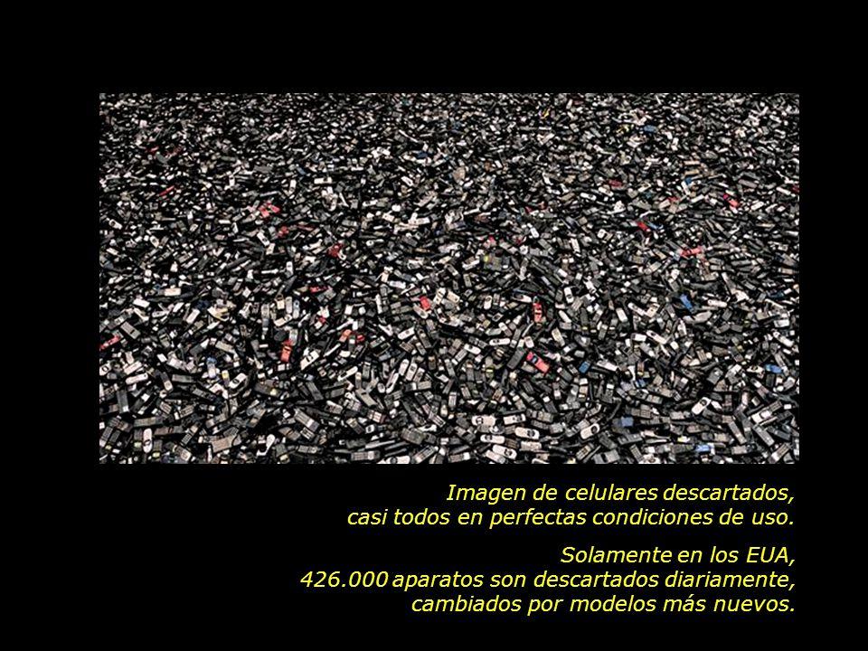 Imagen de celulares descartados, casi todos en perfectas condiciones de uso. Solamente en los EUA, 426.000 aparatos son descartados diariamente, cambi