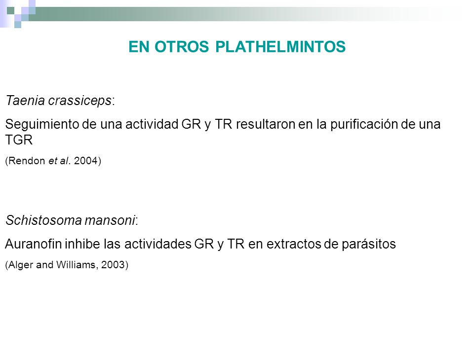EN OTROS PLATHELMINTOS Taenia crassiceps: Seguimiento de una actividad GR y TR resultaron en la purificación de una TGR (Rendon et al. 2004) Schistoso