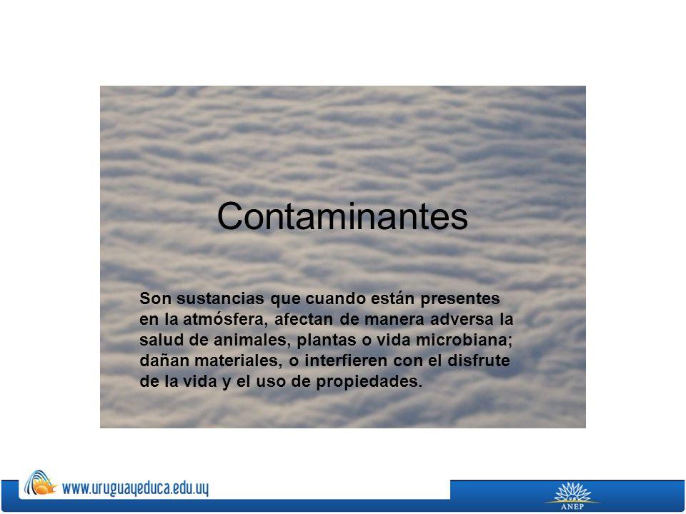 Contaminantes Son sustancias que cuando están presentes en la atmósfera, afectan de manera adversa la salud de animales, plantas o vida microbiana; da