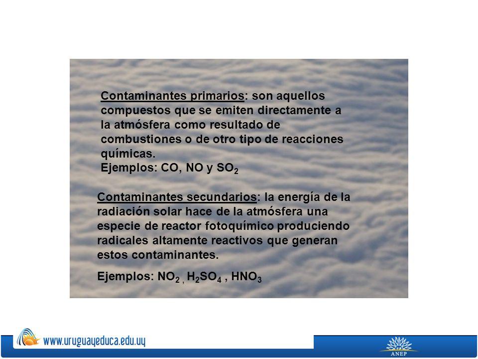 Contaminantes primarios: son aquellos compuestos que se emiten directamente a la atmósfera como resultado de combustiones o de otro tipo de reacciones