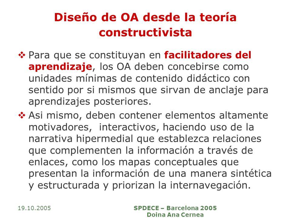 19.10.2005SPDECE – Barcelona 2005 Doina Ana Cernea Diseño de OA desde la teoría constructivista Para que se constituyan en facilitadores del aprendizaje, los OA deben concebirse como unidades mínimas de contenido didáctico con sentido por si mismos que sirvan de anclaje para aprendizajes posteriores.