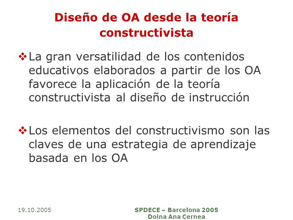 19.10.2005SPDECE – Barcelona 2005 Doina Ana Cernea Diseño de OA desde la teoría constructivista La gran versatilidad de los contenidos educativos elaborados a partir de los OA favorece la aplicación de la teoría constructivista al diseño de instrucción Los elementos del constructivismo son las claves de una estrategia de aprendizaje basada en los OA