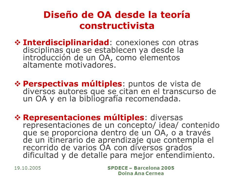 19.10.2005SPDECE – Barcelona 2005 Doina Ana Cernea Diseño de OA desde la teoría constructivista Interdisciplinaridad: conexiones con otras disciplinas