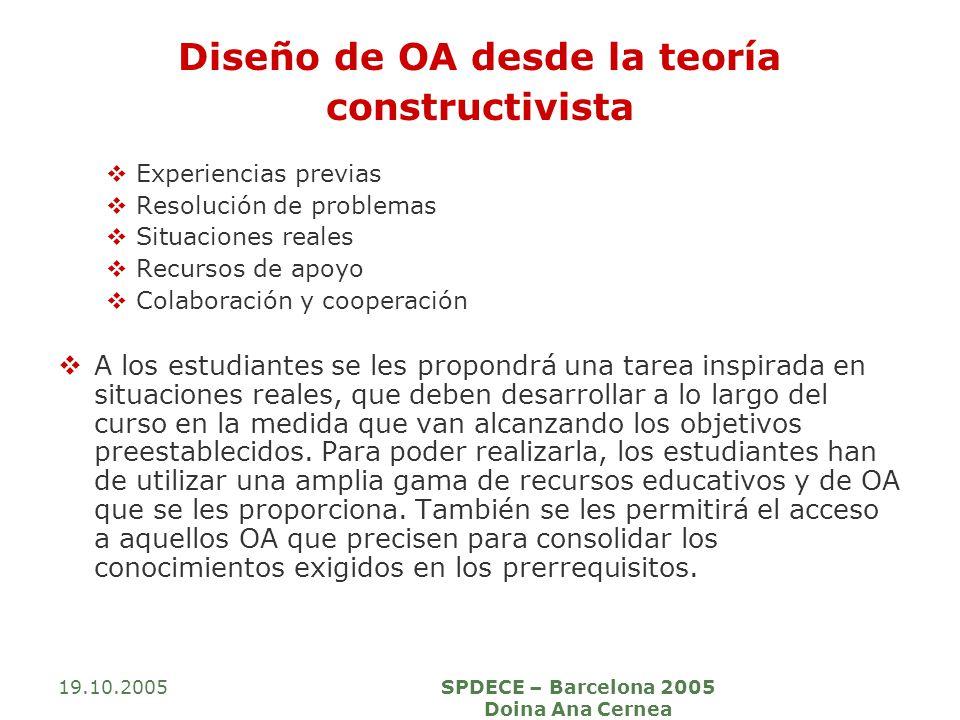 19.10.2005SPDECE – Barcelona 2005 Doina Ana Cernea Diseño de OA desde la teoría constructivista Experiencias previas Resolución de problemas Situacion