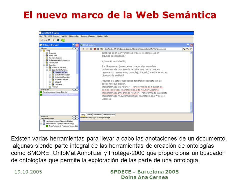 19.10.2005SPDECE – Barcelona 2005 Doina Ana Cernea El nuevo marco de la Web Semántica Existen varias herramientas para llevar a cabo las anotaciones d