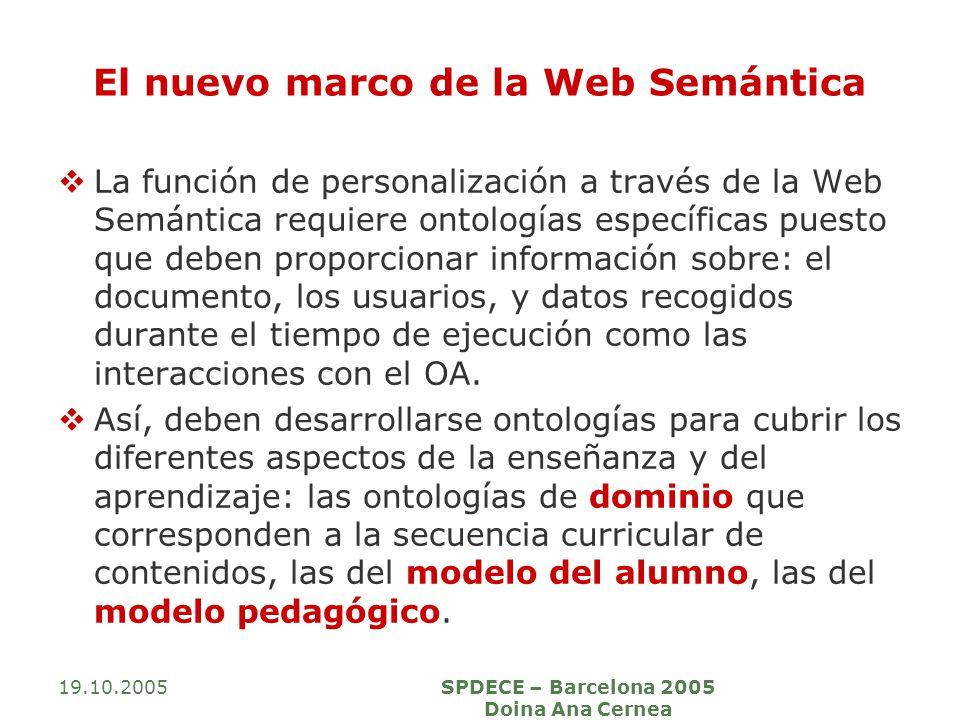 19.10.2005SPDECE – Barcelona 2005 Doina Ana Cernea El nuevo marco de la Web Semántica La función de personalización a través de la Web Semántica requiere ontologías específicas puesto que deben proporcionar información sobre: el documento, los usuarios, y datos recogidos durante el tiempo de ejecución como las interacciones con el OA.