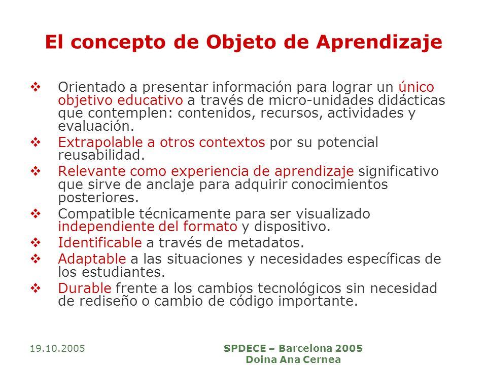 19.10.2005SPDECE – Barcelona 2005 Doina Ana Cernea El concepto de Objeto de Aprendizaje Orientado a presentar información para lograr un único objetivo educativo a través de micro-unidades didácticas que contemplen: contenidos, recursos, actividades y evaluación.