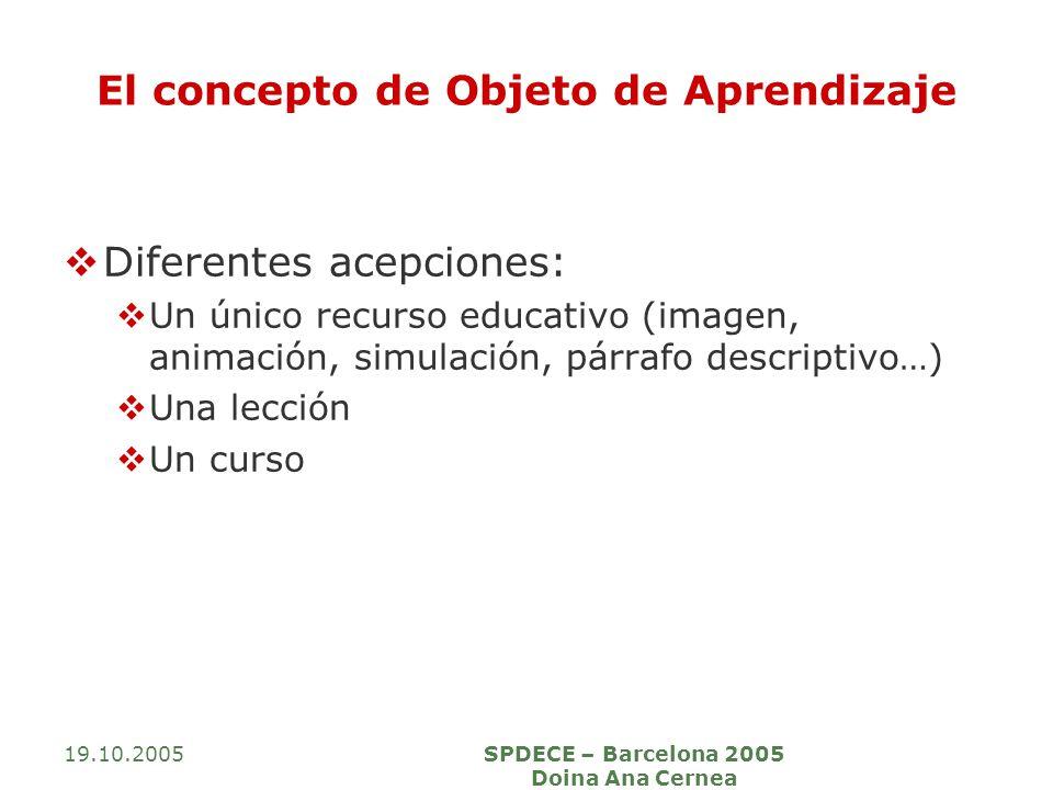 19.10.2005SPDECE – Barcelona 2005 Doina Ana Cernea El concepto de Objeto de Aprendizaje Diferentes acepciones: Un único recurso educativo (imagen, ani