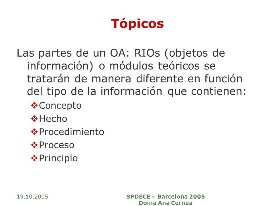 19.10.2005SPDECE – Barcelona 2005 Doina Ana Cernea Tópicos Las partes de un OA: RIOs (objetos de información) o módulos teóricos se tratarán de manera
