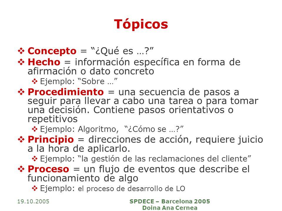 19.10.2005SPDECE – Barcelona 2005 Doina Ana Cernea Tópicos Concepto = ¿Qué es …? Hecho = información específica en forma de afirmación o dato concreto