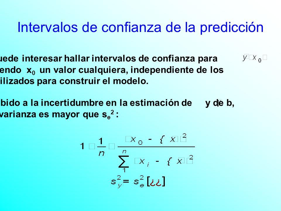 Puede interesar hallar intervalos de confianza para siendo x 0 un valor cualquiera, independiente de los utilizados para construir el modelo.