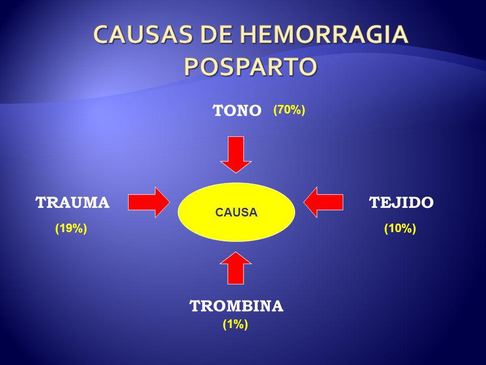 CAUSA TONO TROMBINA TEJIDOTRAUMA (19%) (1%) (10%) (70%)
