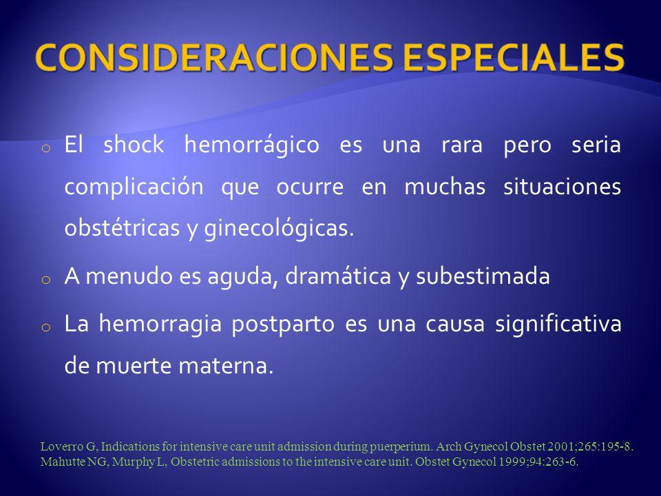 o El shock hemorrágico es una rara pero seria complicación que ocurre en muchas situaciones obstétricas y ginecológicas. o A menudo es aguda, dramátic