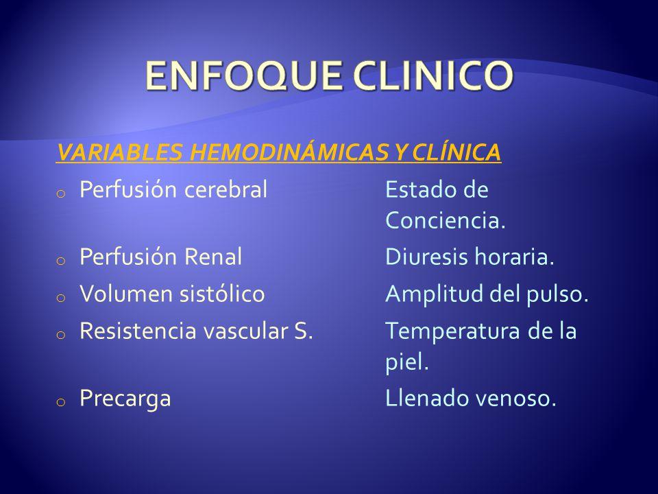 VARIABLES HEMODINÁMICAS Y CLÍNICA o Perfusión cerebralEstado de Conciencia. o Perfusión RenalDiuresis horaria. o Volumen sistólicoAmplitud del pulso.