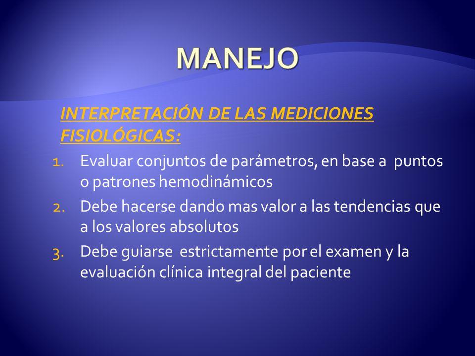 INTERPRETACIÓN DE LAS MEDICIONES FISIOLÓGICAS: 1.Evaluar conjuntos de parámetros, en base a puntos o patrones hemodinámicos 2.Debe hacerse dando mas v