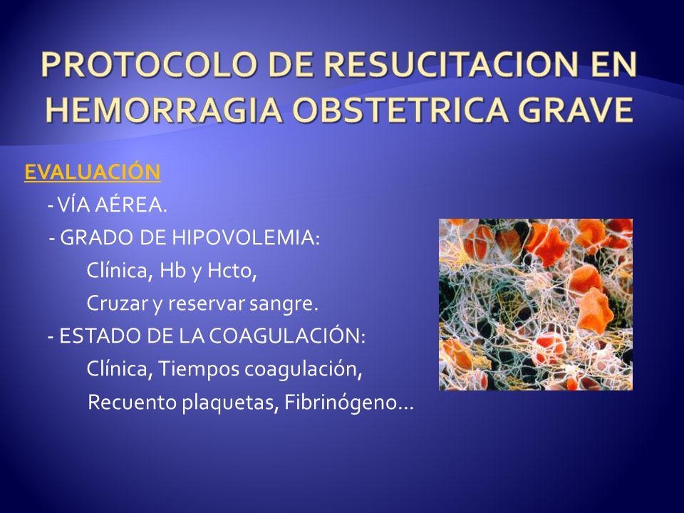EVALUACIÓN - VÍA AÉREA.- GRADO DE HIPOVOLEMIA: Clínica, Hb y Hcto, Cruzar y reservar sangre.