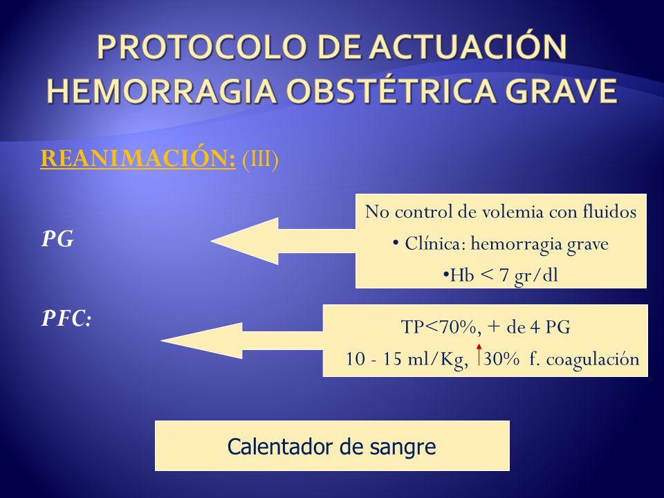 REANIMACIÓN: (III) PG PFC: No control de volemia con fluidos Clínica: hemorragia grave Hb < 7 gr/dl TP<70%, + de 4 PG 10 - 15 ml/Kg, 30% f.
