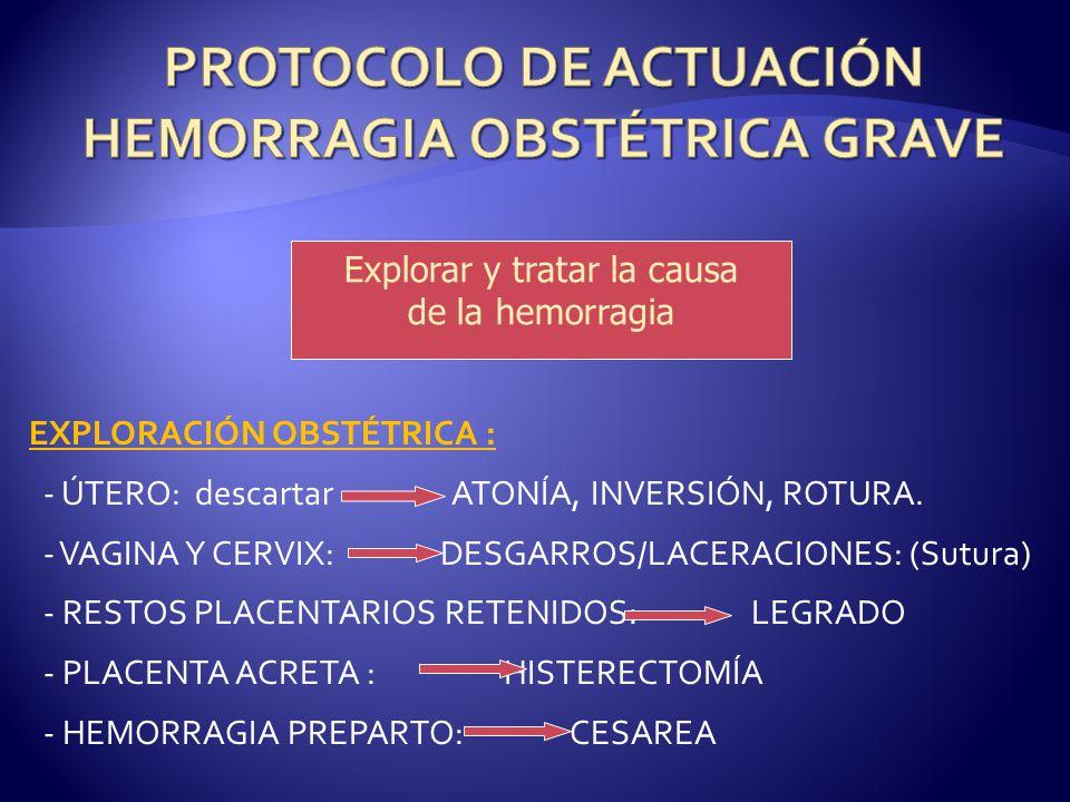 Explorar y tratar la causa de la hemorragia EXPLORACIÓN OBSTÉTRICA : - ÚTERO: descartar ATONÍA, INVERSIÓN, ROTURA. - VAGINA Y CERVIX: DESGARROS/LACERA