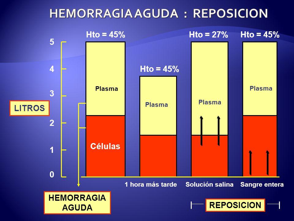 LITROS HEMORRAGIA AGUDA Células Hto = 45% Plasma 5 1 hora más tarde 4 Solución salinaSangre entera REPOSICION Hto = 45%Hto = 27%Hto = 45% 2 1 0 3 Plasma