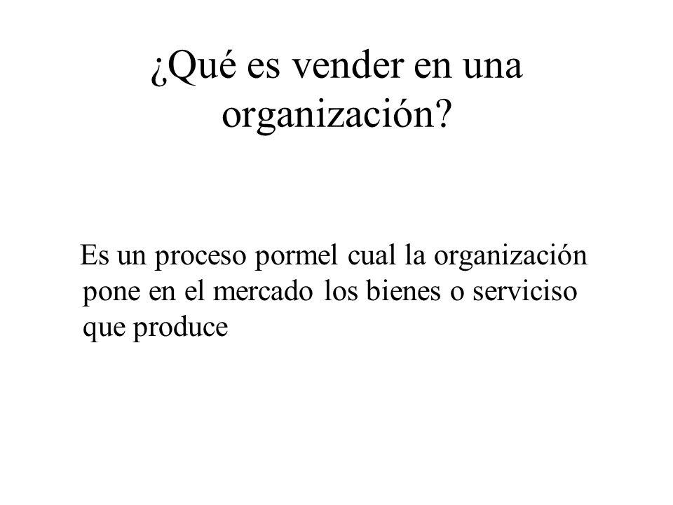¿Qué es vender en una organización.