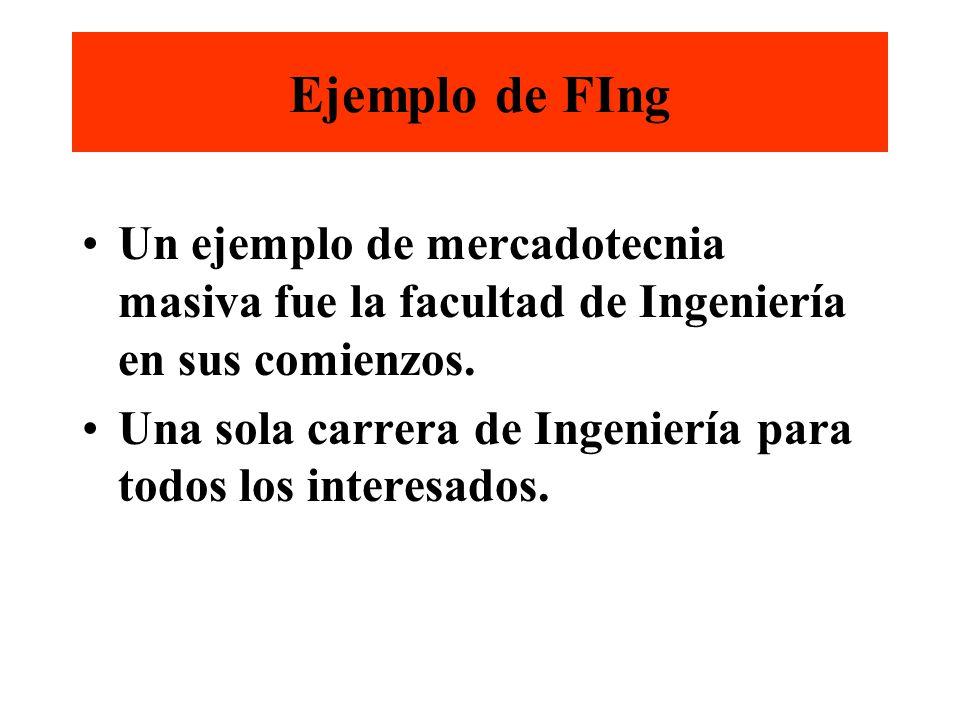 Ejemplo de FIng Un ejemplo de mercadotecnia masiva fue la facultad de Ingeniería en sus comienzos.