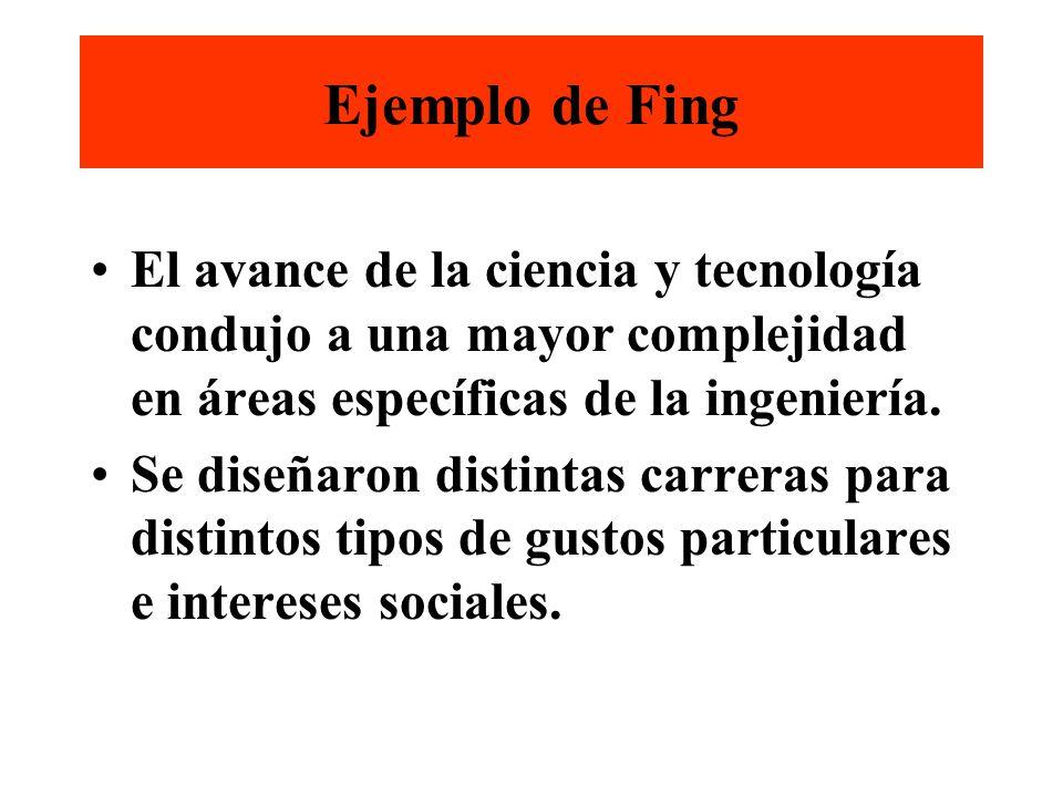 Ejemplo de Fing El avance de la ciencia y tecnología condujo a una mayor complejidad en áreas específicas de la ingeniería.
