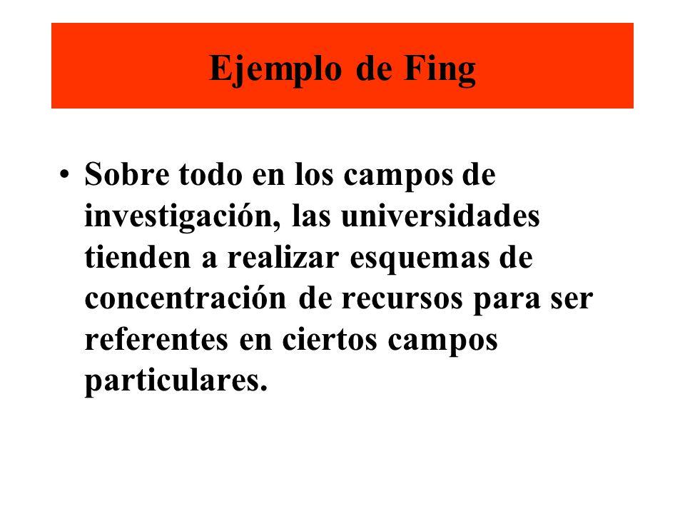 Ejemplo de Fing Sobre todo en los campos de investigación, las universidades tienden a realizar esquemas de concentración de recursos para ser referentes en ciertos campos particulares.