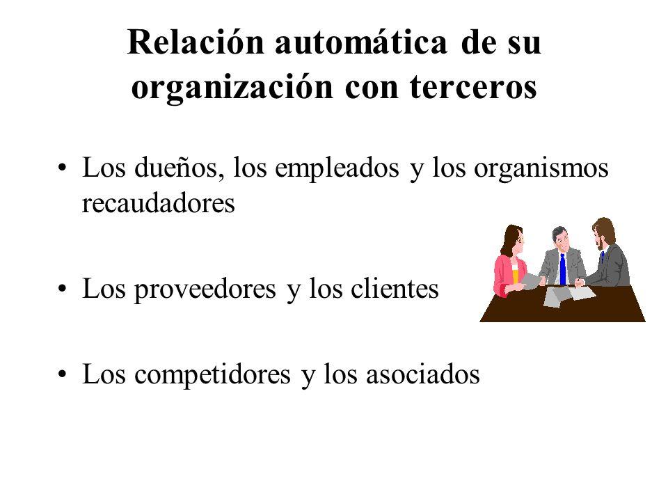 Relación automática de su organización con terceros Los dueños, los empleados y los organismos recaudadores Los proveedores y los clientes Los competidores y los asociados