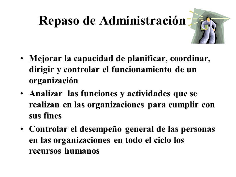 Repaso de Administración Mejorar la capacidad de planificar, coordinar, dirigir y controlar el funcionamiento de un organización Analizar las funciones y actividades que se realizan en las organizaciones para cumplir con sus fines Controlar el desempeño general de las personas en las organizaciones en todo el ciclo los recursos humanos