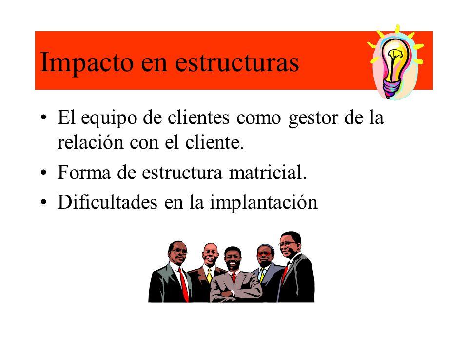 Impacto en estructuras El equipo de clientes como gestor de la relación con el cliente.