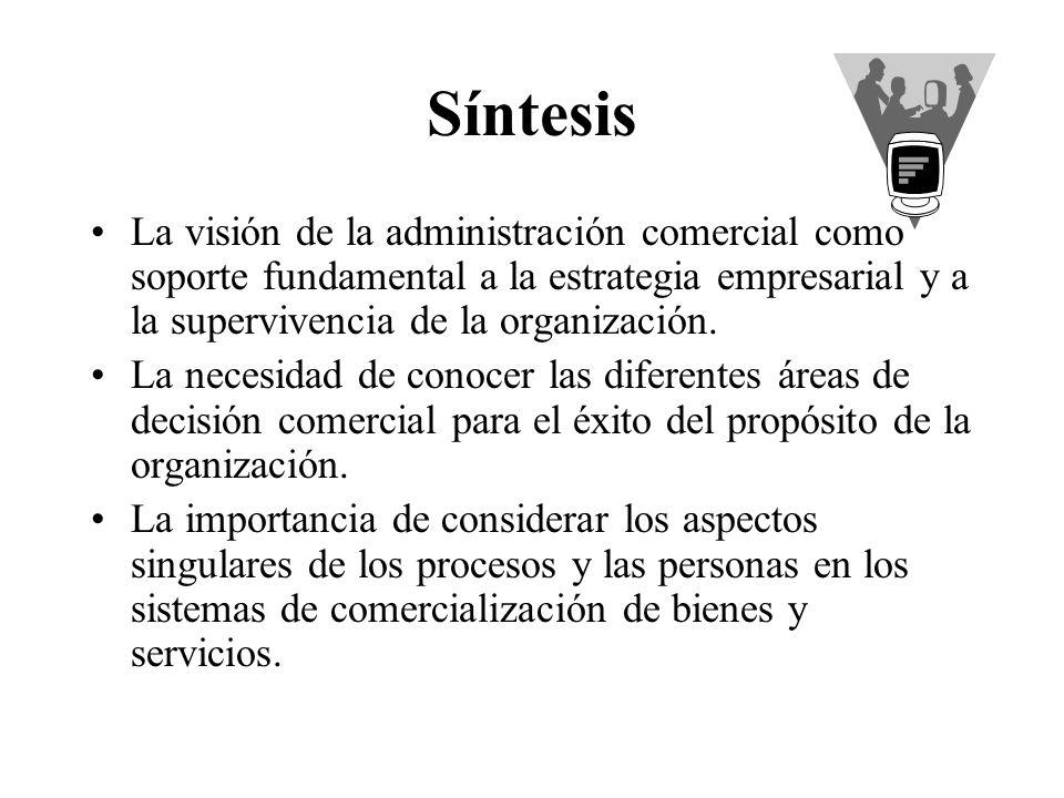 Síntesis La visión de la administración comercial como soporte fundamental a la estrategia empresarial y a la supervivencia de la organización.
